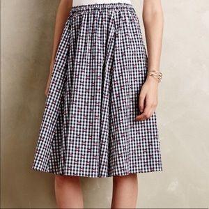 Anthropologie Maeve Gingham Market Skirt Picnic